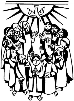 Virgin-Maria-and-Apostles-in-Pentecost-Coloring-Page